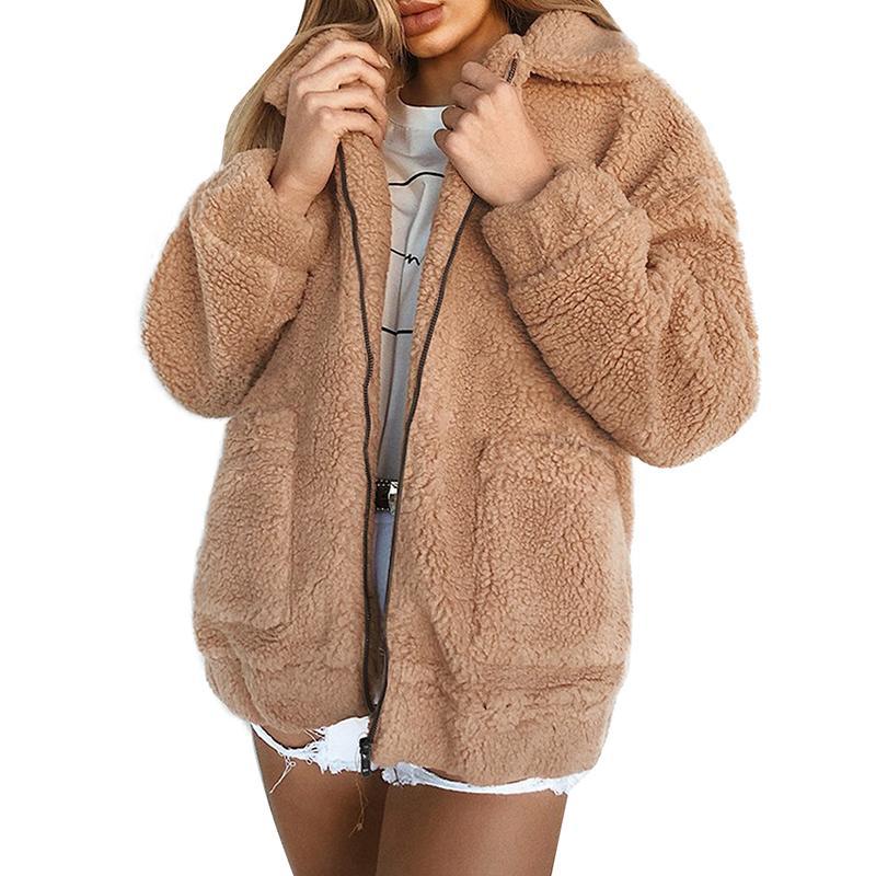Acquista Cappotto Invernale Donna Cappotto Orsetto In Pelliccia Teddy Cappotto Spessa Caldo Giacca In Pile Finto Giacche Soffici Soprabito 3XL Taglie