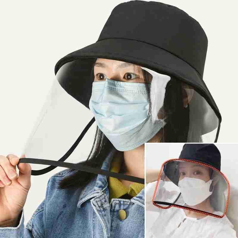 Yeni Moda Koruyucu Kapak Kadın Big Doğranmış Anti-sis İzolasyon Maske Açık Ayarlanabilir Balıkçı Şapkası