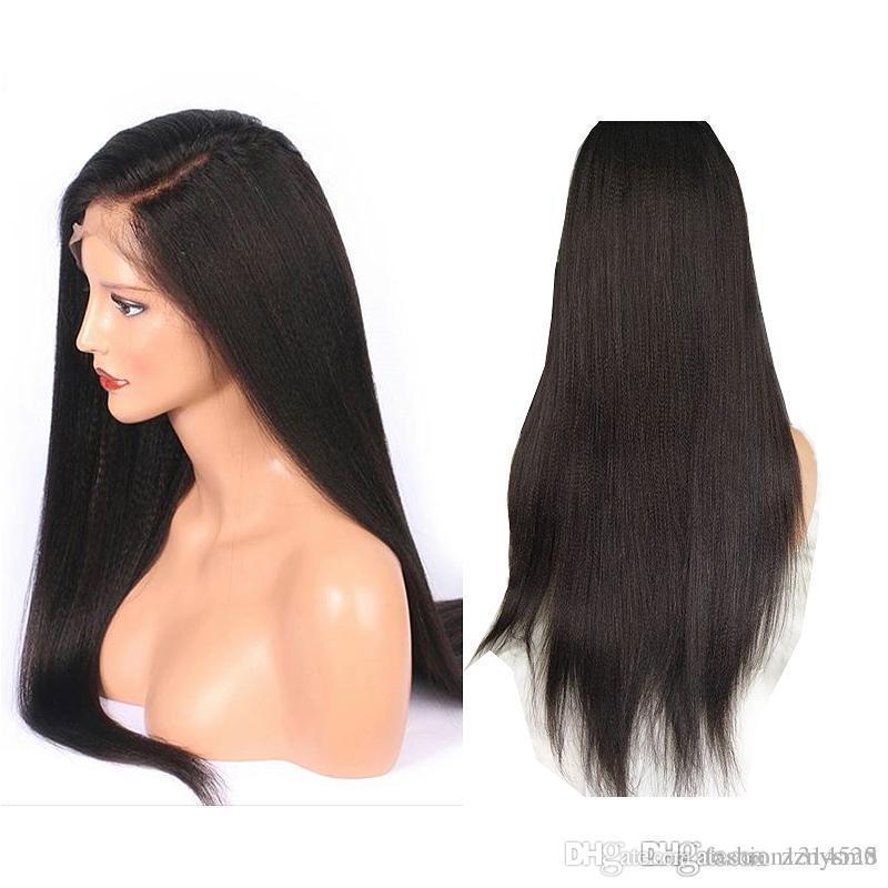 ujibg полный шнурок Свободная часть Real Natural Long человеческих волос Парик для чернокожих женщин Remy бразильский Невидимый Pre Сорванные с ребенком волос