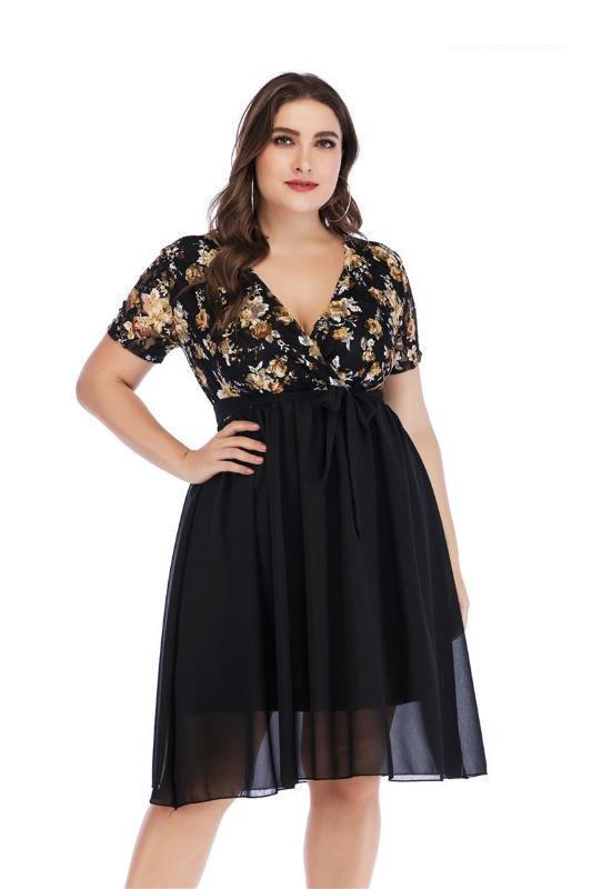 Größe Sexy V-Ausschnitt Lace Panelled Womens Designer-Kleider beiläufige Frauen Kleidung Blumendruck der Frauen beiläufige Kleider plus