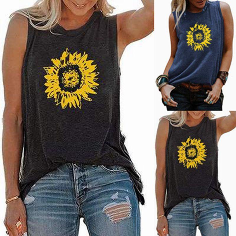 الصيف تي شيرت، النساء عباد الشمس طباعة فضفاض جولة الرقبة بلا أكمام بلايز بلوزة الأساسية