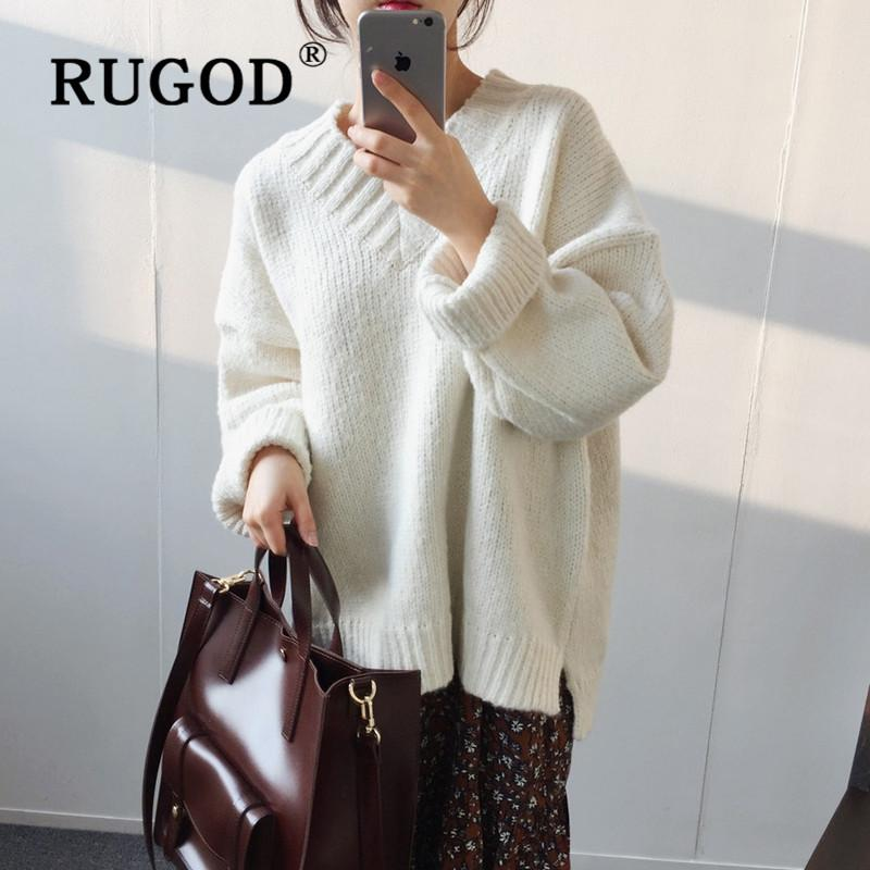 RUGOD Chic V-neck Knitted Sweater Warm Pullover Simplee Winter Tops For Women Clothes 2019 Solid Color Elegant