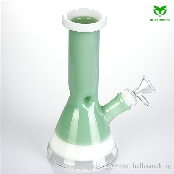 Glass Water Pipe 18mm Female Joint 200mm Tall Heady Oil Rig Bubbler Glass Bong Multiple Color 955