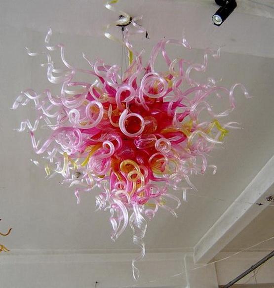 Frete grátis 100% soprado borosilicato de alta qualidade luxo Iluminação Interior Chihuly Estilo Murano vidro rosa do candelabro de cristal