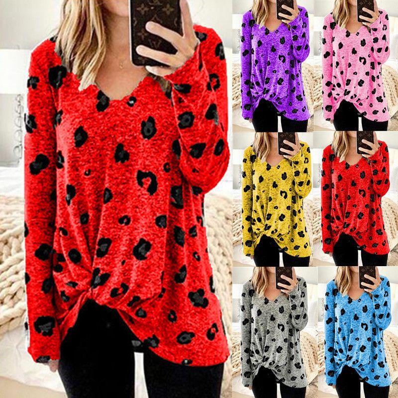 casuali di Polka v-collo delle donne punteggiano le donne progettista magliette camisetas de diseñador para mujer parti superiori di modo T-shirt a maniche lunghe magliette S-5XL