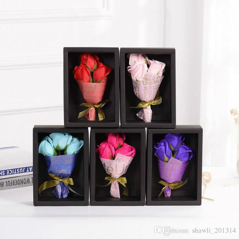 New Creative 3 Rose Flowers Soap Handmade Rose Wedding Valentine Day Rose Flower Christmas Birthday Gift items Petal Paper Soap with box