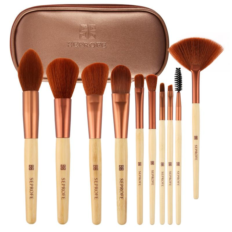 Neue Make-up Pinsel Set Professionelle 10pcs Bambus Griff Make-up Pinsel Lidschatten Foundation Powder Blush Brush Schönheit Werkzeuge