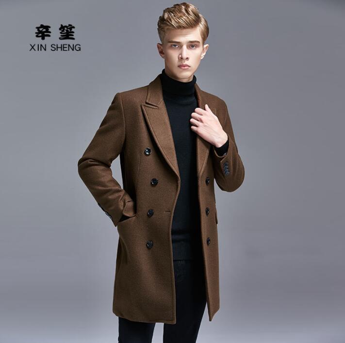 Orta boy yün ceket erkek trençkotlar uzun kollu palto kruvaze elbise erkek kaşmir ceket takım elbise yaka ingiltere