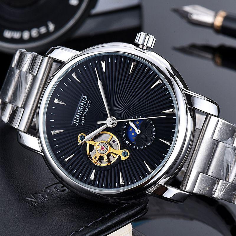 Mode Tourbillon Zifferblatt Armbanduhren Mondphase Wasserdichte Edelstahl Gürtel Automatische Mechanische Herrenuhren Geschenk für Männer
