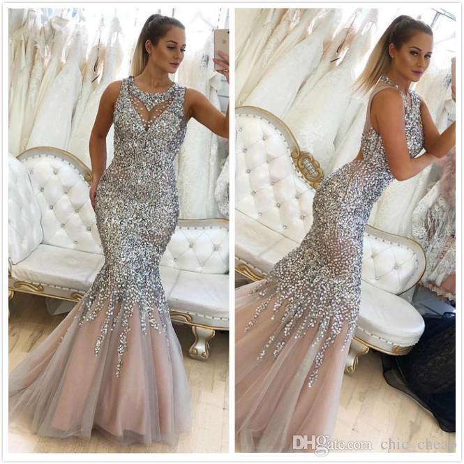 Aso Ebi 2019 Árabe Sparkly Sexy Luxurious Vestidos frisado lantejoulas Prom Dresses Mermaid formal do partido Segundo Recepção Vestidos ZJ564