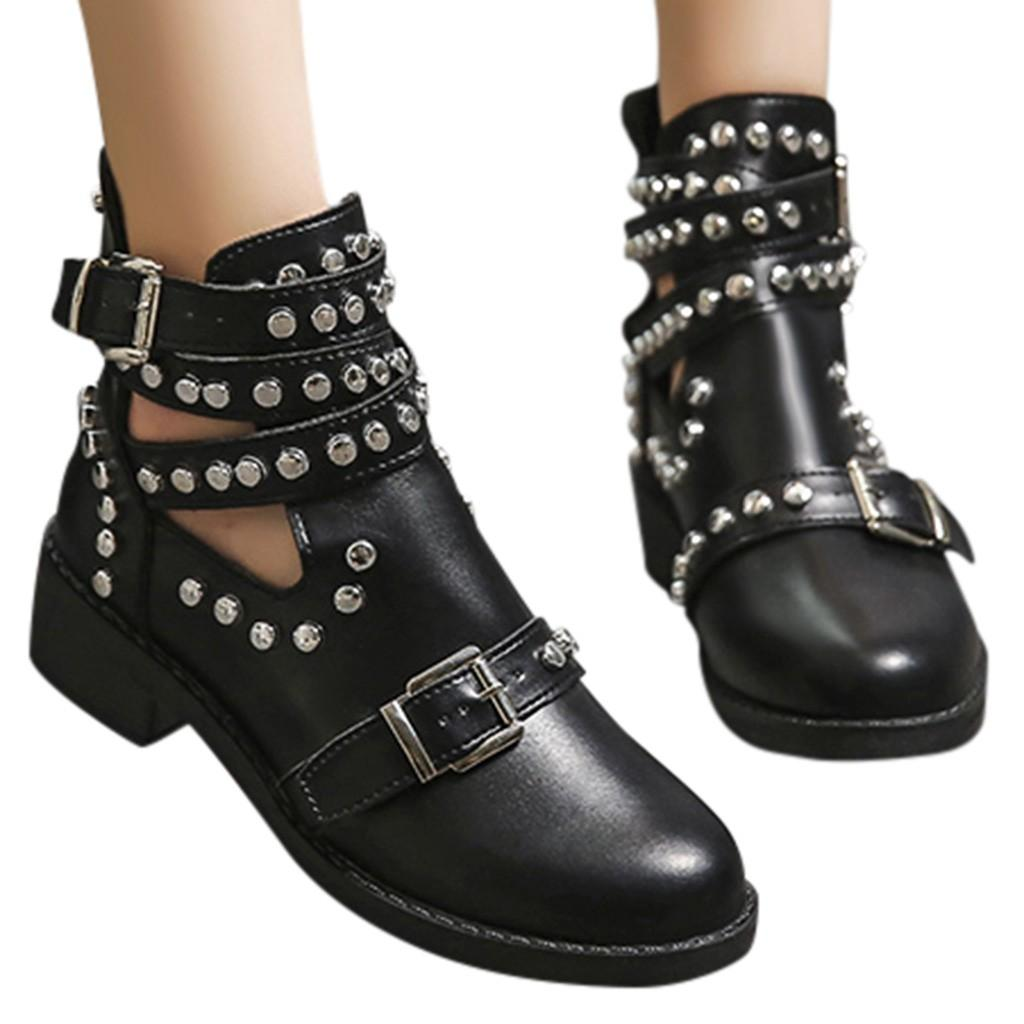 Plus Size Womens Gothic Round Toe Rivets Buckle Strap Ankle Riding Boots Shoes