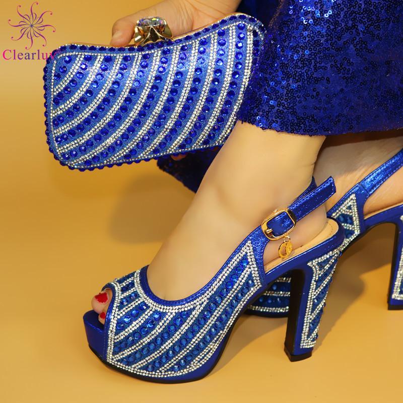 vieux 12.5cm Pompes 2019 Chaussures Femmes Africaines Ensemble Sac avec strass pompes Chaussures italiennes sac assorti pour Soirée