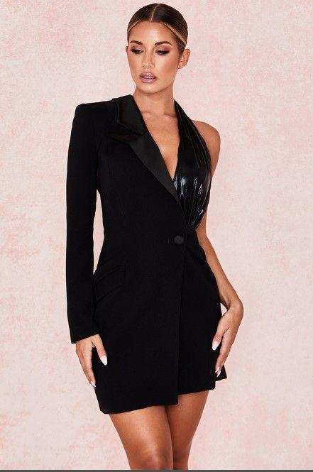 Bir Omuz Siyah Elbise Üst Qualrity Moda Zarif Vintage Gece Kulübü Seksi Elbise Kokteyl Parti