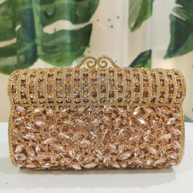 Diamante Crystal Women Gold Party Bag Handbag Metal Bag Damskie Tarde Crossbody Xiyuan Bolse Body Clutch Bolsas nupciales Torebki FDUSN