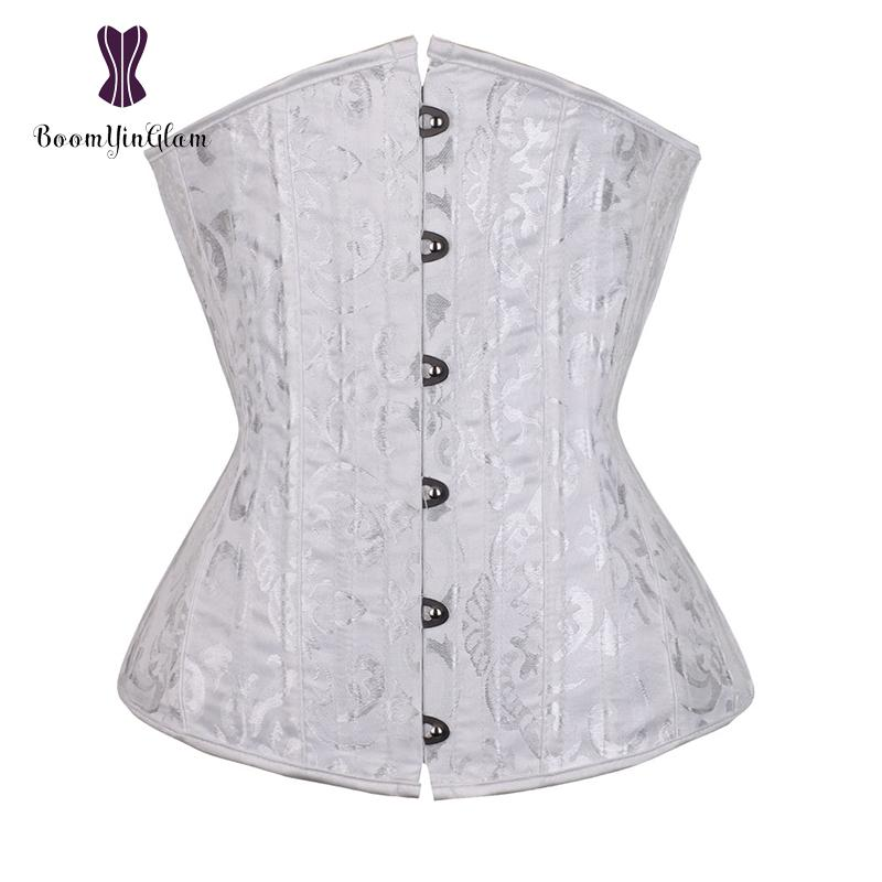 Weiße Frauen Braut Bustier Top Cupless Korsetts Floral Bestickte Stahl Ohne Knochen Korsett Für Taille Training Größe XS-6XL 2834 #