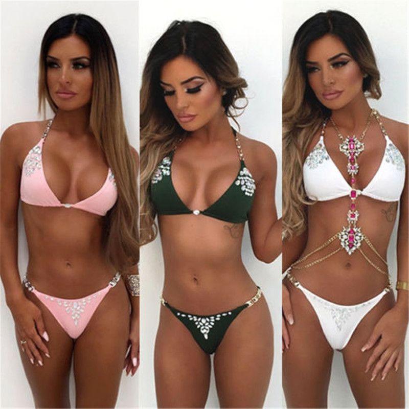 Bikini 2019 Frauen-Badeanzug-Badebekleidung Hot Drilling Bra Bikini Set Push Up Badebekleidung Badeanzug weibliche hohe Taille Strandanzüge