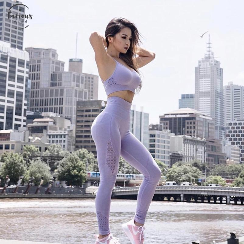 Entrenamiento de la aptitud de las polainas inconsútiles de las mujeres polainas Jeggings Legging para las mujeres ahueca hacia fuera casual Legging Femme buena calidad