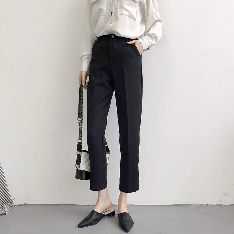 Leisure Suit Pants Feminino coreano calças cachimbo Joker calças perna larga N649D na Primavera de 2020