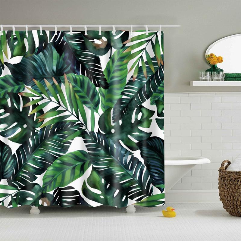 Natürliche Muster Ananas / Blume / Blatt Polyester Duschvorhänge Waschbar Hohe Qualität Bunte Vorhänge für Bad Dusche C18112201