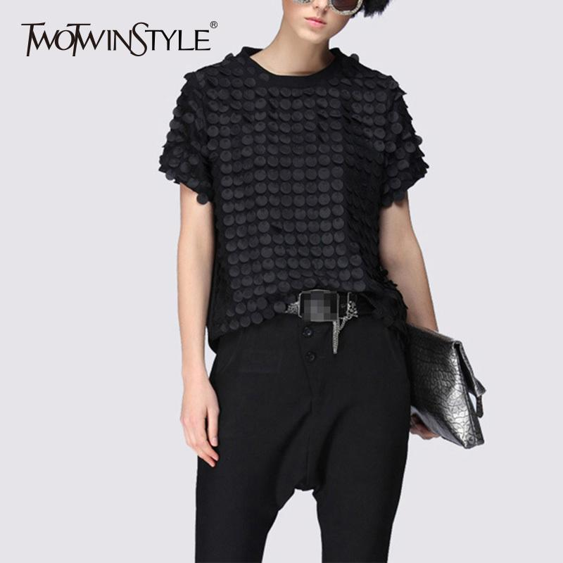 Twotwinstyle Ruffles Black T Shirt Ladies Patchwork O Neck Short Sleeve Oversize T Shirts Summer Casual Tops Clothing C19041001