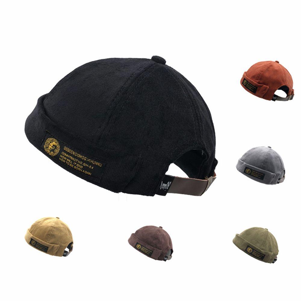 Winter Warm Skullcap Casual Outdoor Warm Cap Cotton Beanies Corduroy Adjustable French Brimless Hat Retro Skullcap