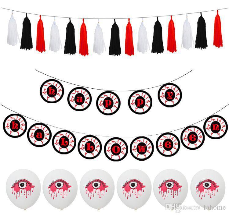 Conjunto de globos de Halloween Ojos amenazadores que cuelgan Banderas decorativas de Halloween para la fiesta festiva