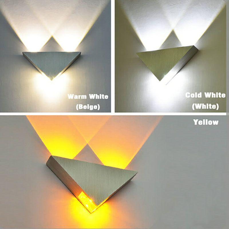 Moderne conduit lampe de mur Corps en aluminium 3W Triangle Wall Light Pour Chambre Éclairage Luminaire Salle de bain Luminaire Applique murale
