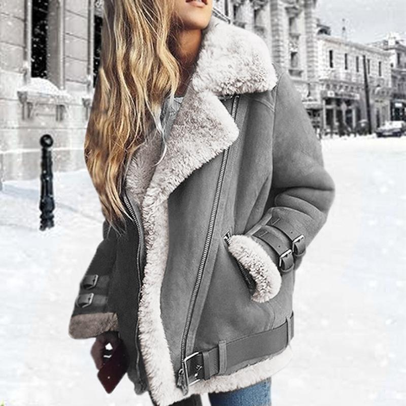 2019 donne di cuoio finto montone di pecora cappotto giacca spessa pelle scamosciata delle donne Autunno Inverno agnelli lana Breve moto cappotti T200407