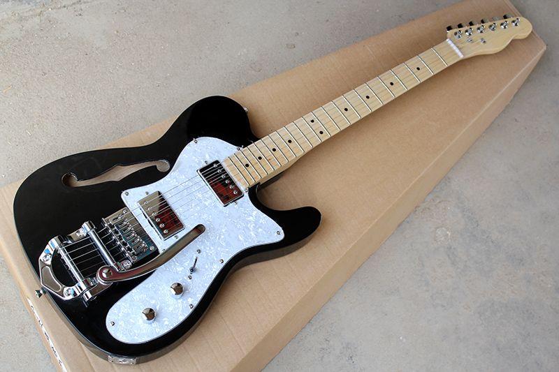 fabbrica all'ingrosso corpo nero su ordinazione della chitarra elettrica con in acero, ponticello del Tremolo, White Pearl Battipenna, 2 pickup, possono essere personalizzati
