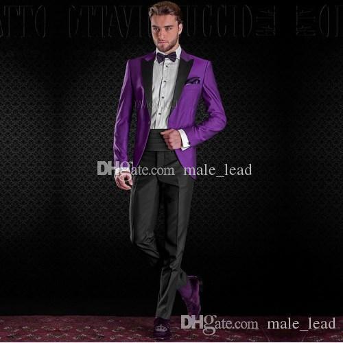 Guapo Groomsmen Peak Peak Sapel Groom Txedos Mens Vestido de novia Hombre Chaqueta Blazer Cena de baile de 2 piezas traje (chaqueta + pantalones + corbata) a205