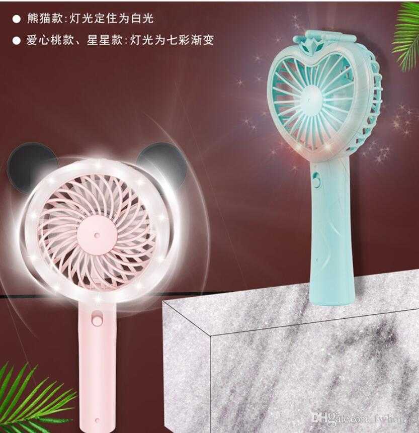 Newest Portable Mini Fan Cartoon Small Fan Led Desktop USB Fans Cooler Fans Cooling Rechargeable Air Conditioner Electric Fan For Work Sport