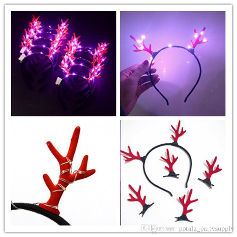 LED Christmas antler Headband luminous Lights Shinning Hair Hoop Novelty party Toy flashing Hairpin For Halloween Xmas birthday Cheer Up