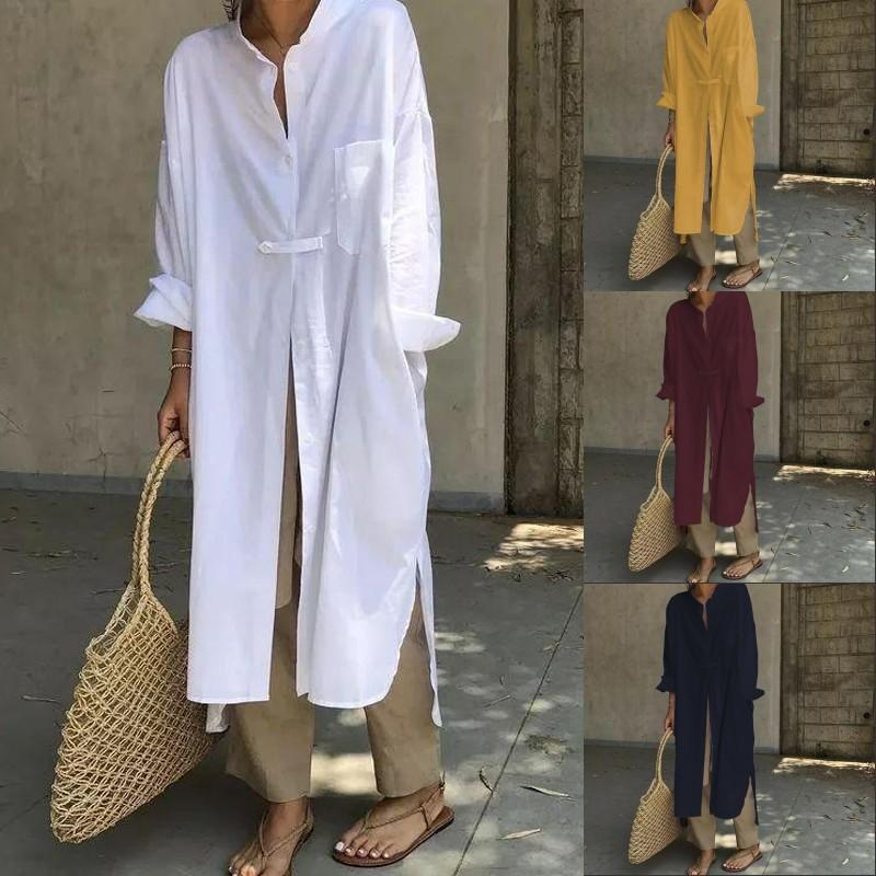 Cotton Vintage Top da donna asimmetrico camicetta lunga 2019 ZANZEA a manica lunga casuale Split-shirt Femminile collare del basamento tunica S-5XL T200320