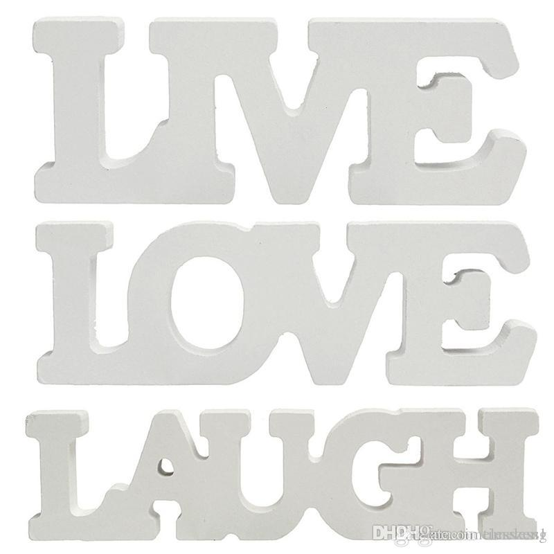 Vintage White Live rir Amor Sinal Placa Decoração Presente Casamento Letras