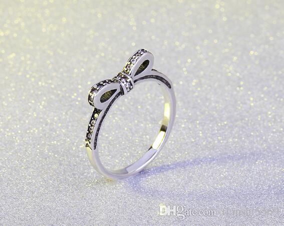 S925 ancien arc d'argent noeud Anneaux Fines bulles arc avec diamant Anneaux pour les femmes compatibles avec la qualité supérieure de bijoux Pandora