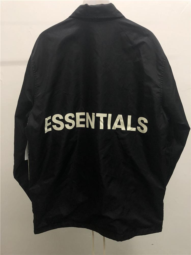 Fashion-High Street Mens 윈드 브레이커 18 FW 남성과 여성을위한 신의 재킷에 대한 두려움 스트리트 스타일이 칼라 트렌치 코트를 뒤집습니다