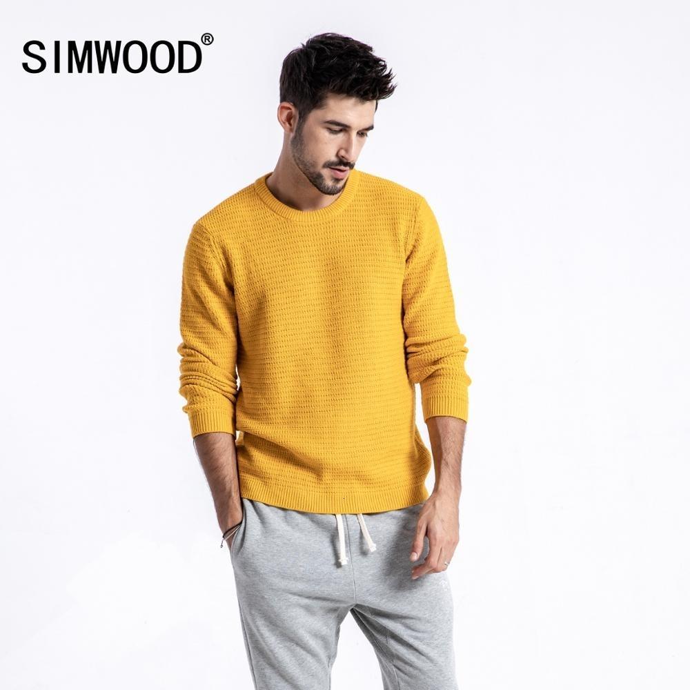 SIMWOOD Марка свитер мужчин 2019 осень зима моды пуловер Мужчины трикотажные свитера Slim Fit Мужской Плюс Размер Высокое качество 180374 CJ191209