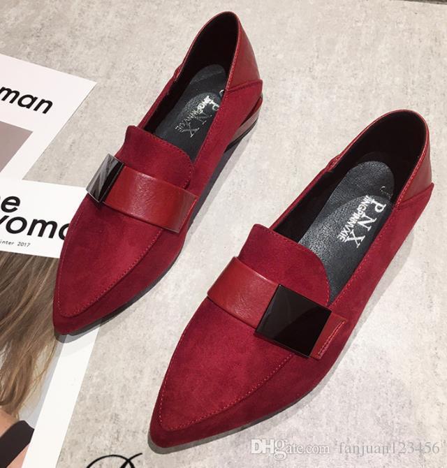 2020 nuove donne single scarpe primavera e l'autunno di paillettes in camoscio a due usura morbida pelle rossa a punta stile britannico piccola marea di singoli pattini