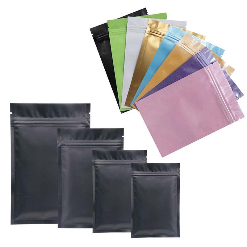 8 اللون كيس من البلاستيك مايلر احباط الالومنيوم حقيبة على المدى الطويل تخزين المواد الغذائية وحماية المقتنيات اثنان الجانبية الملونة عشب حقيبة التخزين