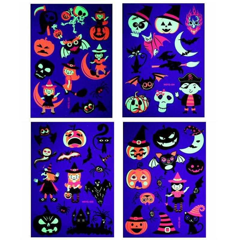 Halloween Fluorescent temporäre Tätowierung-Aufkleber Umweltfreundlich Kinder Pumkin Tier Cartoon-Tätowierung-Aufkleber-Partei-Dekoration HHA811