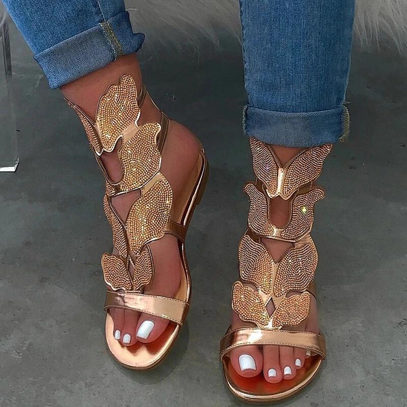 sandales femmes strass bracelet cheville plate chaussures de plage d'été dames clignotent chaussures de mode taille plus