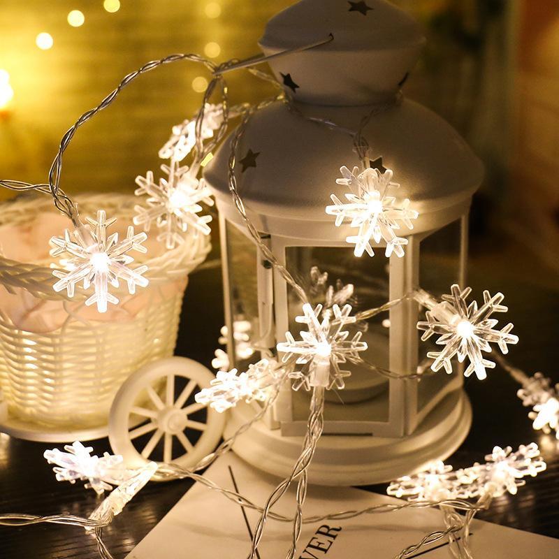Nouvel An Décor 1.5 M 10-led Lampe Bande Batterie Batterie Box Flocon De Neige Décorations De Noël pour La Maison Décorations D'arbres De Noël Navidad.Q