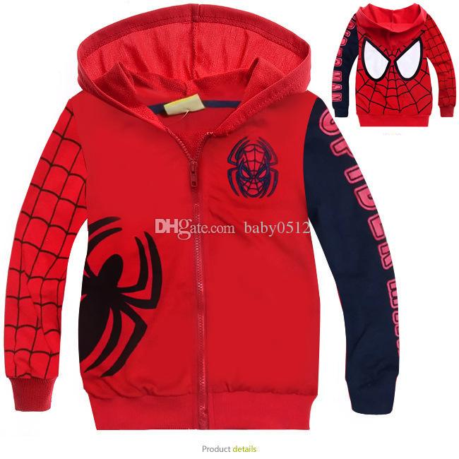 Kids Boys 3D Spiderman Hoodie Zipper Jacket Hooded Long Sleeve Tops Coat Outwear