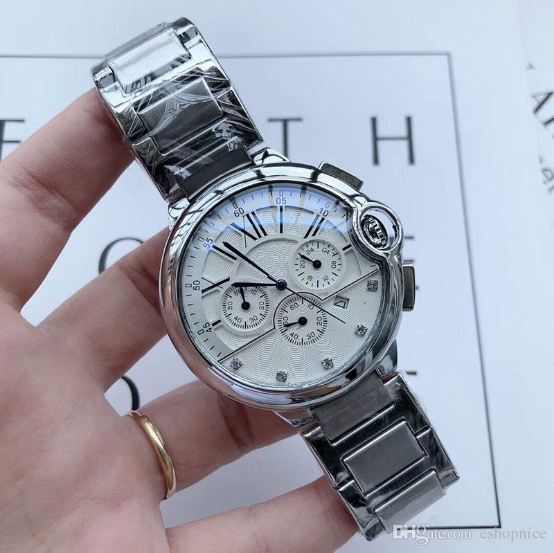 Высокое качество Мужская мода Лучшие часы из нержавеющей стали группа секундомера Все суб-набор кварцевые часы для мужчин лучший подарок 2020