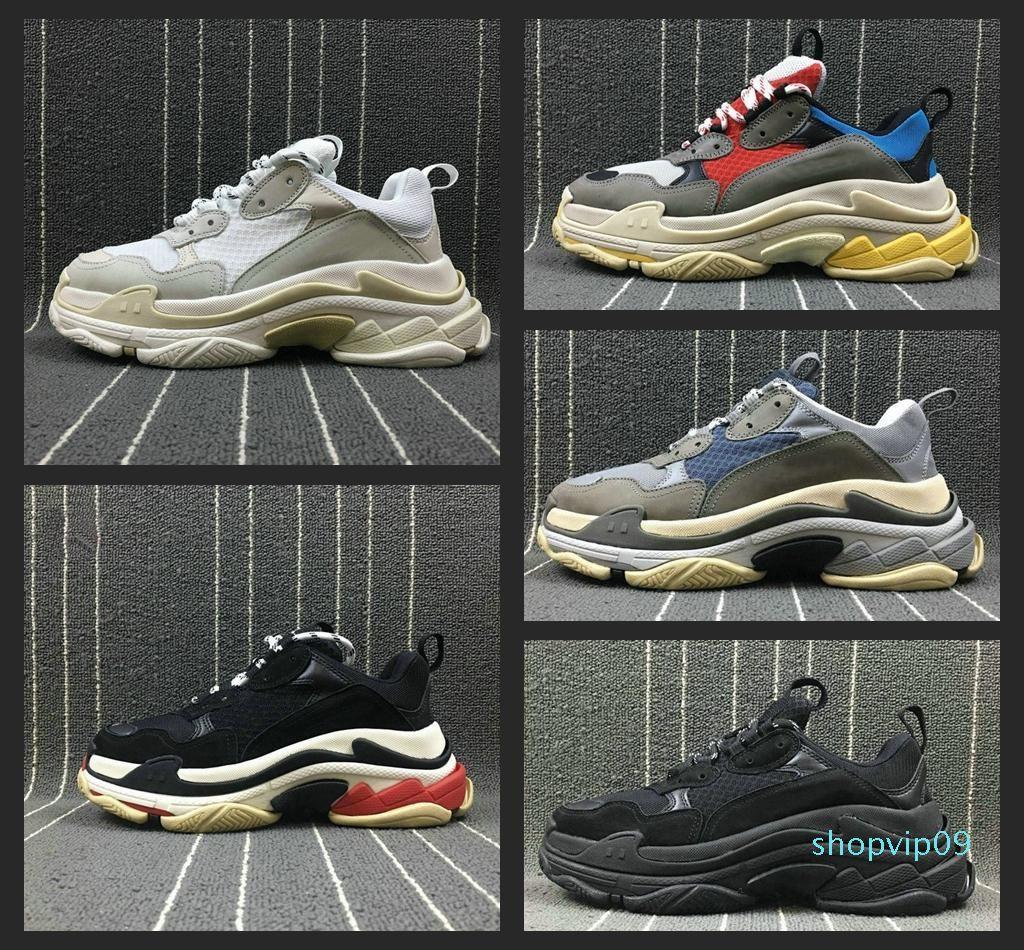 Новая мода Paris Triple-S Дизайнерская обувь Низкая платформа кроссовки Тройные S Mens Casual Женщины дизайнер вскользь Тренеры Chaussures 36-45 n7