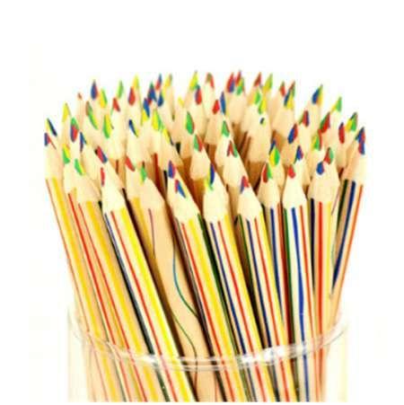 10 teile / los regenbogen farbe kinder aus holz 4 in 1 farbstift graffiti zeichnung malwerkzeuge