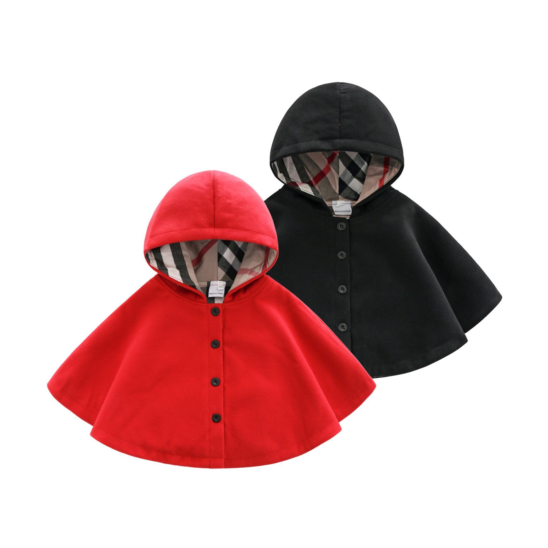 2020 Winter Frühlingsmode Kids Baby Cape Muster Schwarz Rote Baumwolle Mit Kapuze Plaid Girls Mantel Jacken Baby Mädchen Kap Cloaks Kleidung