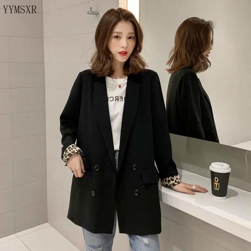 2020 النسخة الكورية من النساء الجديدة الليزر عارضة مزاجه مزدوجة الصدر الأسود الفهد المؤنث سترة أزياء تناسب الصغيرة
