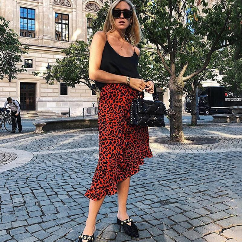 Lossky Skirts Vintage Long Leopard Print Ruffled Slit Skirt High Waist Women Fashion Midi Asymmetrical Streetwear Casual Clothes T200518