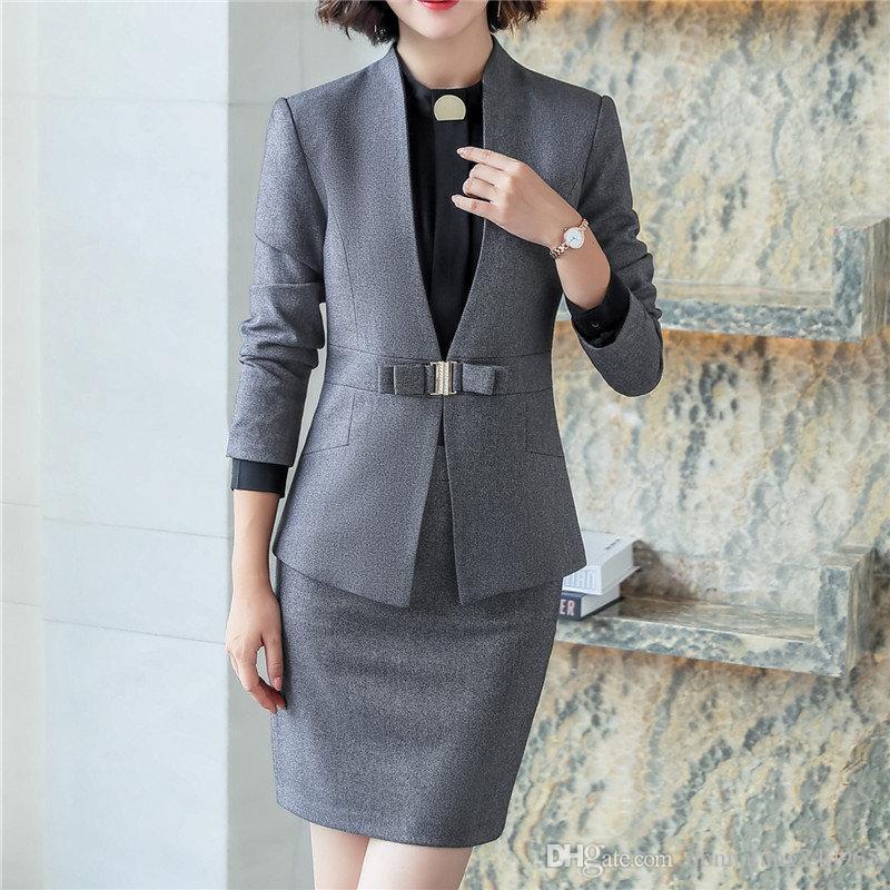 Automne Fashion Suit Suit femelle carrière costume veste et longues sections tempérament décontracté jupes deux pièces la jupe des femmes ensemble 6012